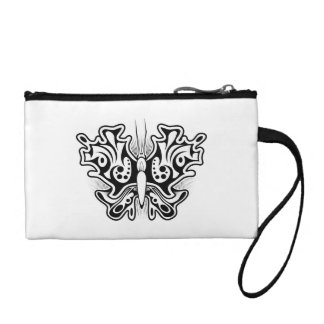Butterfly Tattoo Black and White Coin Purses