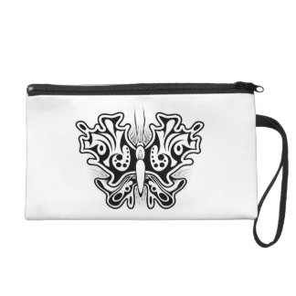 Butterfly Tattoo Black and White Wristlet Purse