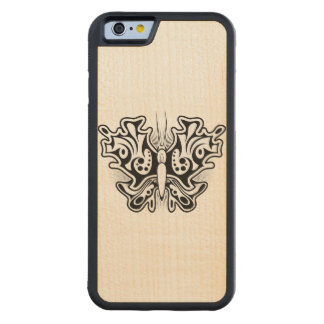 Butterfly Tattoo Black and White Carved Maple iPhone 6 Bumper Case