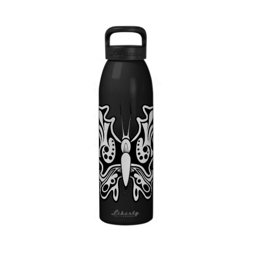 Butterfly Tattoo Black and White Drinking Bottles
