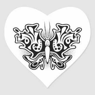 Butterfly Tattoo Black and White Heart Sticker