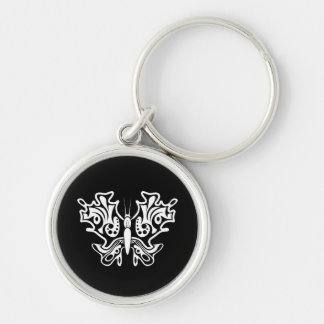 Butterfly Tattoo Black and White Keychain