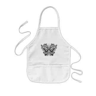Butterfly Tattoo Black and White Kids' Apron