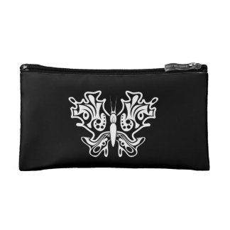 Butterfly Tattoo Black and White Makeup Bag