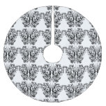 Butterfly Tattoo Black and White Brushed Polyester Tree Skirt
