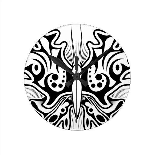 Butterfly tattoo design round wallclock