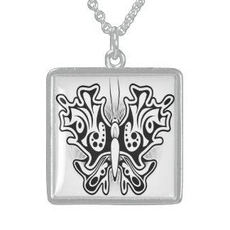 Butterfly tattoo design sterling silver necklace
