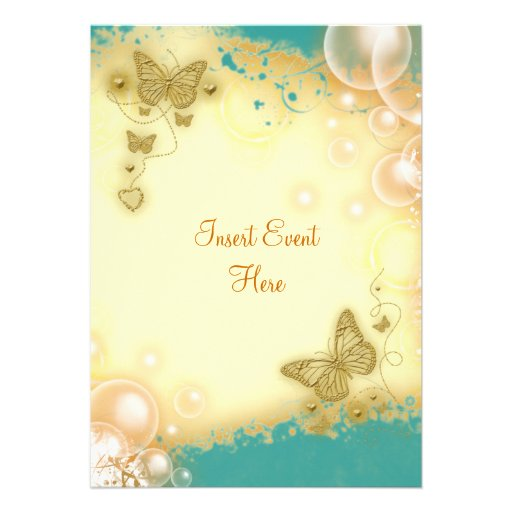 Butterfly teal gold wedding engagement invitation