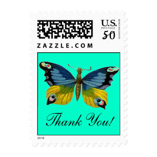 Butterfly Thank You! Blue Golden Yellow Stamps