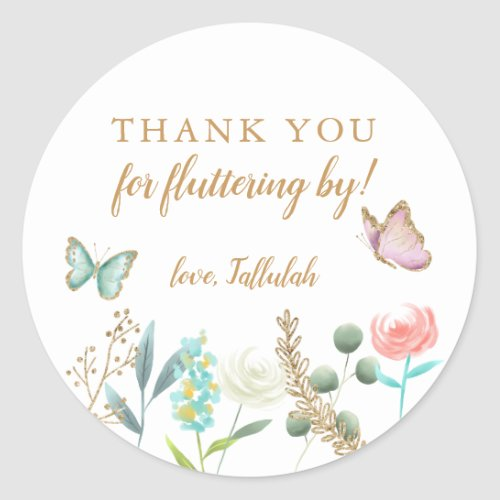 Butterfly Thank You For Fluttering By Party Favor Classic Round Sticker