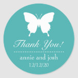 Butterfly Thank You Labels (Aqua) Classic Round Sticker