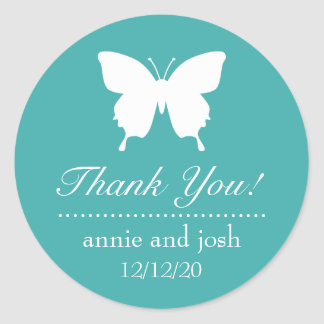 Butterfly Thank You Labels (Aqua) Stickers