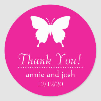 Butterfly Thank You Labels (Magenta Pink) Classic Round Sticker