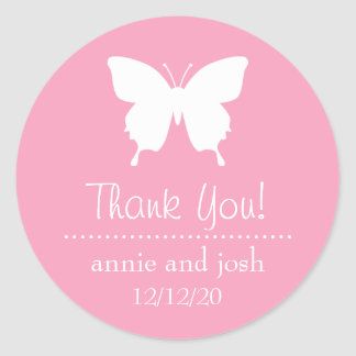 Butterfly Thank You Labels (Pink) Classic Round Sticker