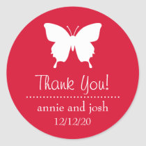 Butterfly Thank You Labels (Red)