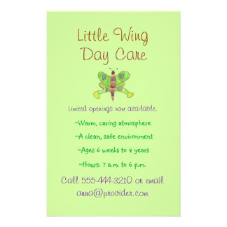 Butterfly theme child care flyer