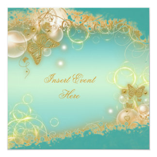 Butterfly theme gold teal elegant card