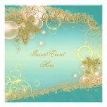 Butterfly theme gold teal elegant custom invite