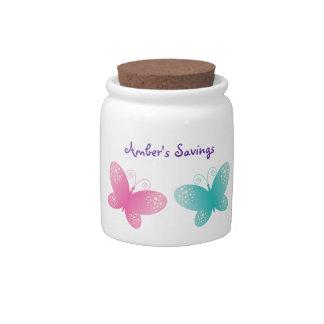 Butterfly Theme Kid's Savings Jar Candy Jars
