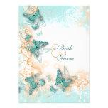 Butterfly theme wedding aqua gold custom invites