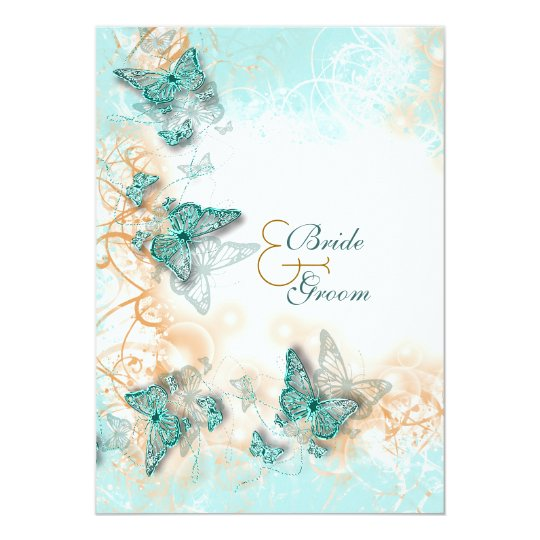 Butterfly Themed Wedding Invitations: Butterfly Theme Wedding Aqua Gold Invitation