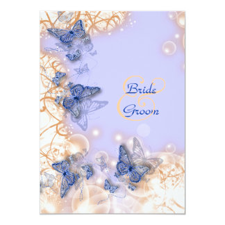 Butterfly theme wedding blue ivory personalized invitation