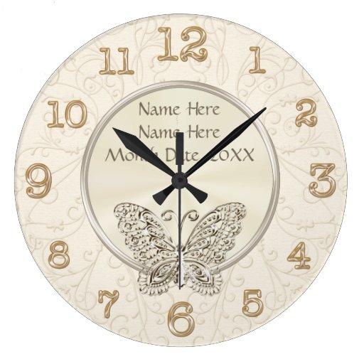 Personalised Clock Wedding Gift India : Butterfly Themed Wedding Gifts PERSONALIZED Clocks Zazzle