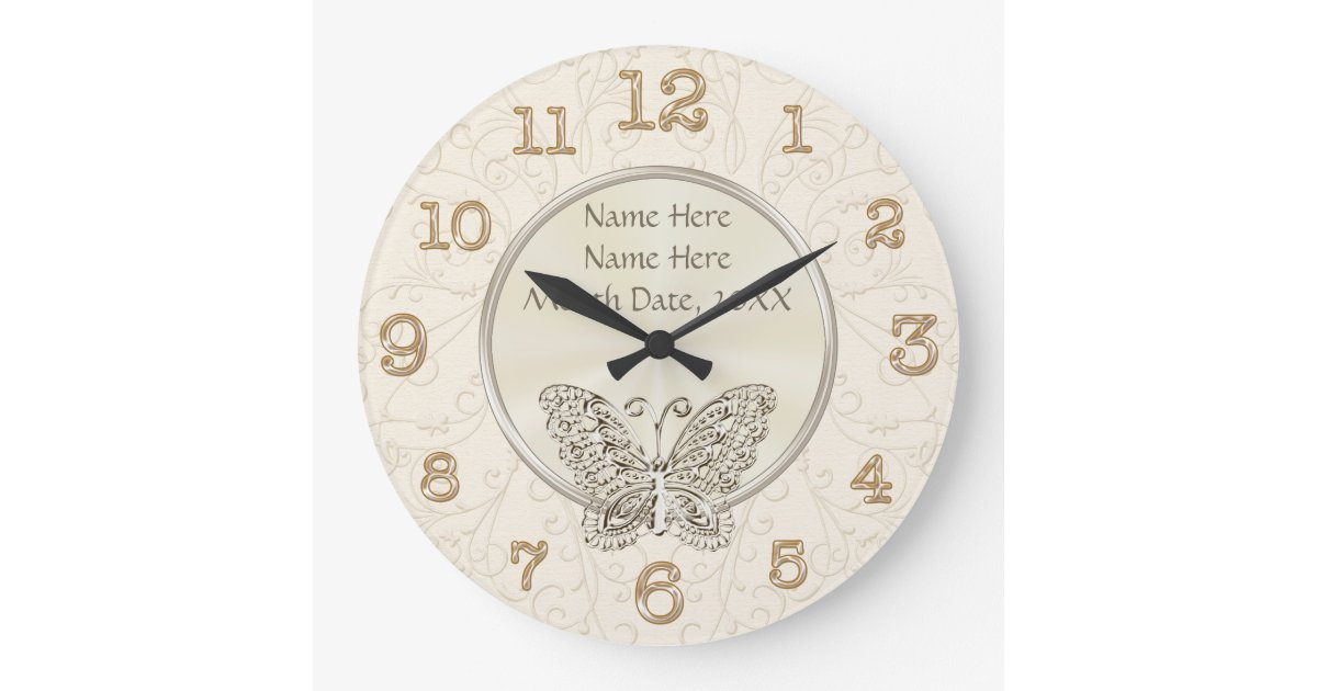 Butterfly Themed Wedding Gifts PERSONALIZED Large Clock