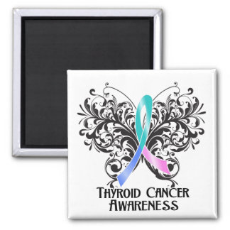Butterfly Thyroid Cancer Awareness Refrigerator Magnet