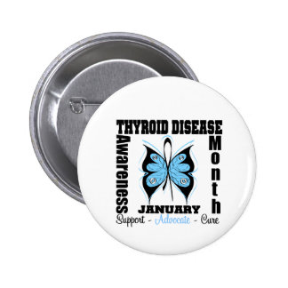 Butterfly Thyroid Disease Awareness Month 2 Inch Round Button