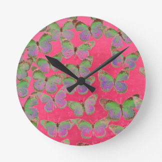 butterfly time round wall clock