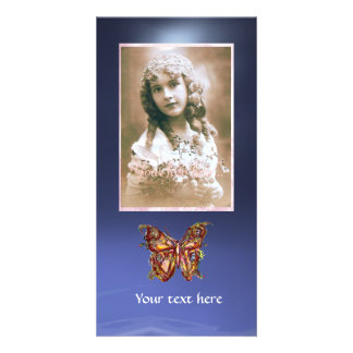 BUTTERFLY TOPAZ BLUE ,red Photo Card
