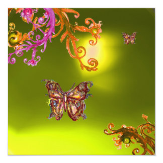 BUTTERFLY TOPAZ YELLOW, bright pink orange brown Announcements