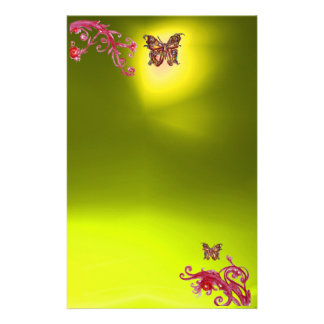 BUTTERFLY , topaz yellow red pink blue Stationery
