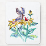 Butterfly Treat Summer Flowers Mouse Pads