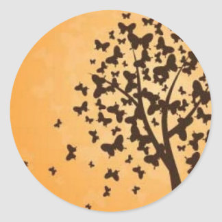 Butterfly tree classic round sticker