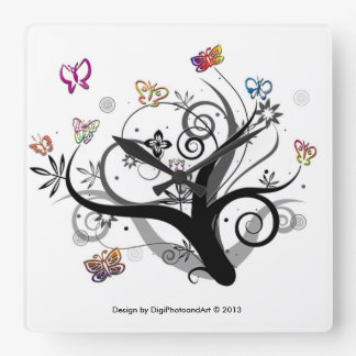 Butterfly Tree Square Clock