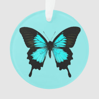 Butterfly - turquoise blue and black ornament