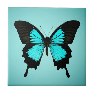 Butterfly - turquoise blue and black tile