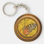 butterfly under glass key chain