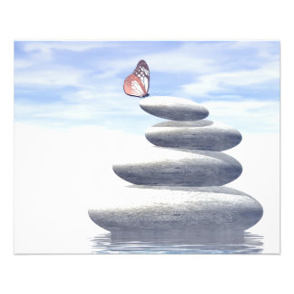 Butterfly upon balanced stones flyer