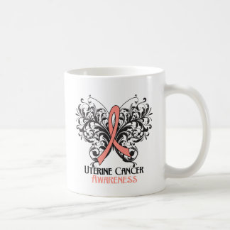 Butterfly Uterine Cancer Awareness Classic White Coffee Mug
