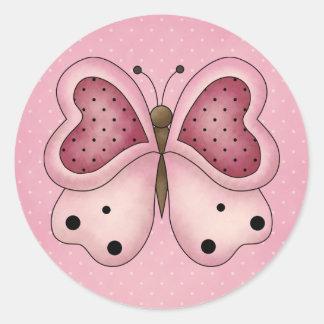 Butterfly Valentine Stickers Round Sticker
