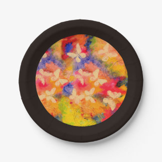 Butterfly Vestige (Brown Trim) Paper Plates 7 Inch Paper Plate