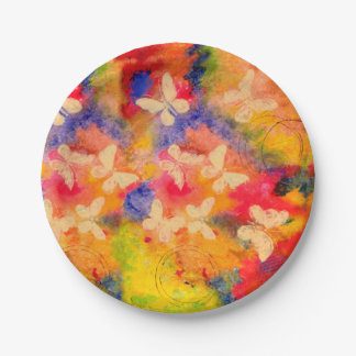 Butterfly Vestige Paper Plates 7 Inch Paper Plate