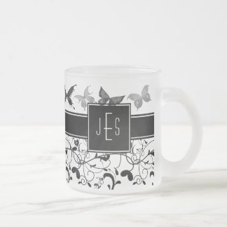 Butterfly Victorian Flourish Black White Frosted Glass Coffee Mug