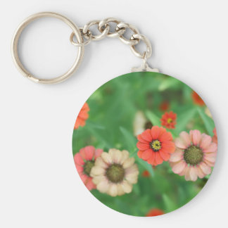 Butterfly View - Red Daisy Flowers Keychain