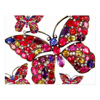 Butterfly Vintage Costume Jewelry Rhinestones Postcard