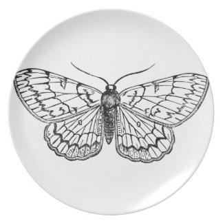 butterfly vintage illustration melamine plate