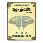 Butterfly Vintage Japanese Silk Label Post Card